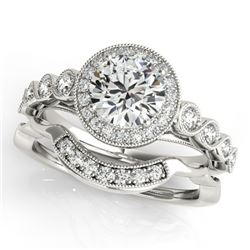 1.60 CTW Certified VS/SI Diamond 2Pc Wedding Set Solitaire Halo 14K White Gold - REF-402M4F - 30849