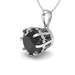 1 CTW Black Diamond Solitaire Necklace 18K White Gold - REF-45A3V - 35724