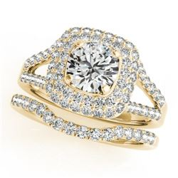 1.72 CTW Certified VS/SI Diamond 2Pc Wedding Set Solitaire Halo 14K Yellow Gold - REF-243H5M - 30908