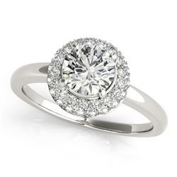 0.75 CTW Certified VS/SI Diamond Solitaire Halo Ring 18K White Gold - REF-143W6H - 26473
