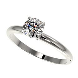 0.75 CTW Certified H-SI/I Quality Diamond Solitaire Engagement Ring 10K White Gold - REF-118R2K - 32