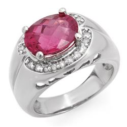 3.83 CTW Pink Tourmaline & Diamond Ring 10K White Gold - REF-86W4H - 10139