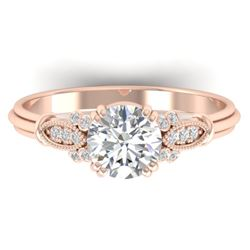 1.15 CTW Certified VS/SI Diamond Solitaire Art Deco Ring 14K Rose Gold - REF-281Y7X - 30550