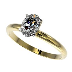 1 CTW Certified VS/SI Quality Oval Diamond Solitaire Ring 10K Yellow Gold - REF-297Y2X - 32896