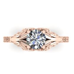 1 CTW Solitaire Certified VS/SI Diamond Ring 14K Rose Gold - REF-289V6Y - 38539