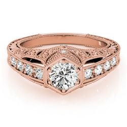 0.65 CTW Certified VS/SI Diamond Solitaire Antique Ring 18K Rose Gold - REF-137F3N - 27301