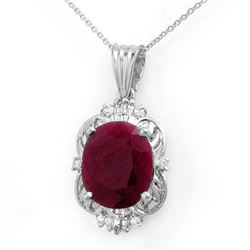 6.39 CTW Ruby & Diamond Pendant 18K White Gold - REF-138N2A - 12761