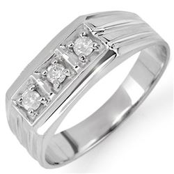 0.20 CTW Certified VS/SI Diamond Men's Ring 18K White Gold - REF-54F5N - 10266