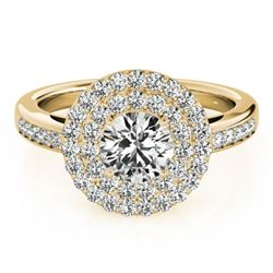 0.85 CTW Certified VS/SI Diamond Solitaire Halo Ring 18K Yellow Gold - REF-104H2M - 26457