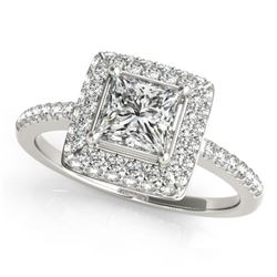 0.85 CTW Certified VS/SI Princess Diamond Solitaire Halo Ring 18K White Gold - REF-136V4Y - 27138