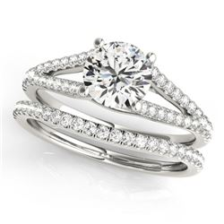 0.88 CTW Certified VS/SI Diamond Solitaire 2Pc Wedding Set 14K White Gold - REF-125K6W - 31979