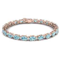 25.8 CTW Sky Blue Topaz & VS/SI Certified Diamond Eternity Bracelet 10K Rose Gold - REF-118X4R - 294