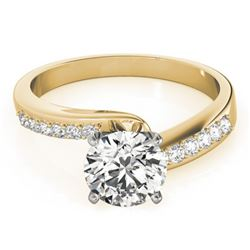 0.91 CTW Certified VS/SI Diamond Bypass Solitaire Ring 18K Yellow Gold - REF-190A7V - 27677