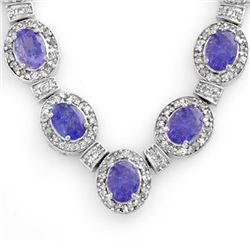 38.70 CTW Tanzanite & Diamond Necklace 14K White Gold - REF-963Y6X - 14191
