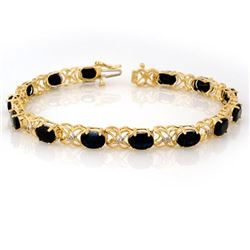 16.05 CTW Blue Sapphire & Diamond Bracelet 10K Yellow Gold - REF-55X6R - 10743