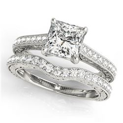 1.65 CTW Certified VS/SI Princess Diamond Solitaire 2Pc Set 14K White Gold - REF-443R3K - 31754