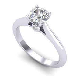 0.83 CTW VS/SI Diamond Solitaire Art Deco Ring 18K White Gold - REF-200H2M - 37283