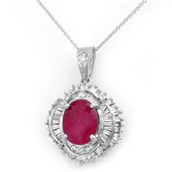 6.26 CTW Ruby & Diamond Pendant 18K White Gold - REF-178W2H - 13030