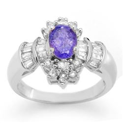 1.76 CTW Tanzanite & Diamond Ring 18K White Gold - REF-90N5A - 10567