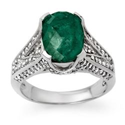 4.75 CTW Emerald & Diamond Ring 18K White Gold - REF-120R5K - 13928