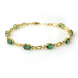 4.11 CTW Emerald & Diamond Bracelet 10K Yellow Gold - REF-50R9K - 14180