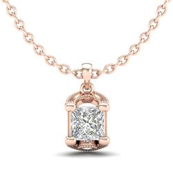 1.25 CTW Princess VS/SI Diamond Solitaire Art Deco Necklace 18K Rose Gold - REF-315H2M - 37155