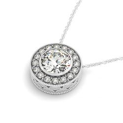 1 CTW Certified SI Diamond Solitaire Halo Necklace 14K White Gold - REF-170H2M - 29992