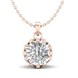 1.14 CTW VS/SI Diamond Solitaire Art Deco Stud Necklace 18K Rose Gold - REF-205W5H - 36843