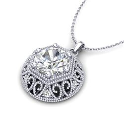 1.11 CTW VS/SI Diamond Solitaire Art Deco Stud Necklace 18K White Gold - REF-298N2A - 36923