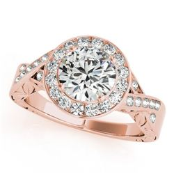 1.75 CTW Certified VS/SI Diamond Solitaire Halo Ring 18K Rose Gold - REF-623H2M - 27058