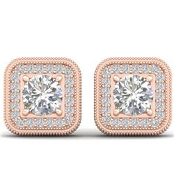 2 CTW Certified VS/SI Diamond Art Deco Micro Halo Stud Earrings 14K Rose Gold - REF-224M4F - 30499