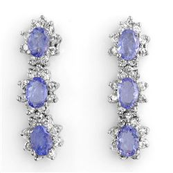 4.38 CTW Tanzanite & Diamond Earrings 14K White Gold - REF-115A3V - 11079