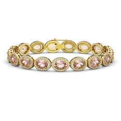 20.18 CTW Morganite & Diamond Bracelet Yellow Gold 10K Yellow Gold - REF-377F3N - 40615
