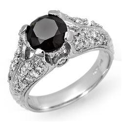 2.55 CTW VS Certified Black & White Diamond Ring 14K White Gold - REF-115K5W - 11865