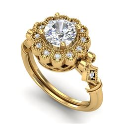 1.20 CTW VS/SI Diamond Solitaire Art Deco Ring 18K Yellow Gold - REF-345W2H - 37051