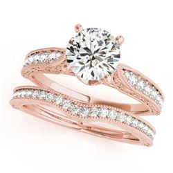 0.95 CTW Certified VS/SI Diamond Solitaire 2Pc Wedding Set Antique 14K Rose Gold - REF-144N2A - 3150