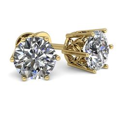 1.0 CTW Certified VS/SI Diamond Stud Solitaire Earrings 18K Yellow Gold - REF-178Y2X - 35821