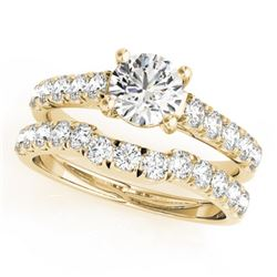 1.39 CTW Certified VS/SI Diamond 2Pc Set Solitaire Wedding 14K Yellow Gold - REF-215A5V - 32089