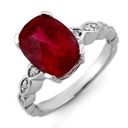 4.25 CTW Rubellite & Diamond Ring 10K White Gold - REF-74K2W - 10305