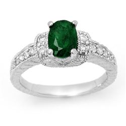1.60 CTW Emerald & Diamond Ring 14K White Gold - REF-60X9R - 14201