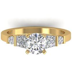 1.69 CTW Certified VS/SI Diamond Solitaire Ring 14K Yellow Gold - REF-392W7H - 30395