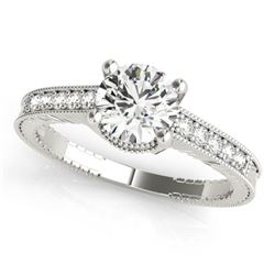 0.45 CTW Certified VS/SI Diamond Solitaire Antique Ring 18K White Gold - REF-69F6N - 27381
