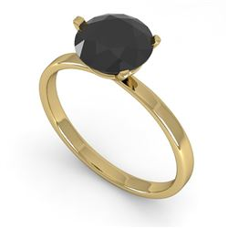 1.50 CTW Black Certified Diamond Engagement Ring Martini 18K Yellow Gold - REF-59Y3X - 32242