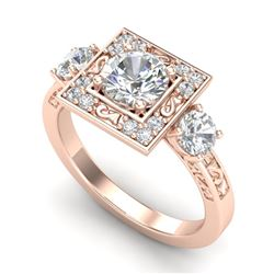 1.55 CTW VS/SI Diamond Solitaire Art Deco 3 Stone Ring 18K Rose Gold - REF-272R7K - 37275