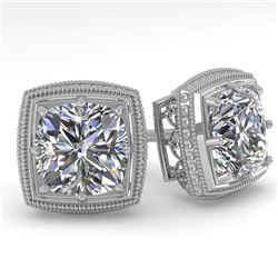 1.0 CTW VS/SI Cushion Cut Diamond Stud Solitaire Earrings Deco 18K White Gold - REF-187V5Y - 35964
