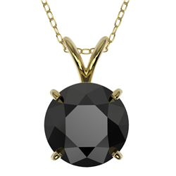 2 CTW Fancy Black VS Diamond Solitaire Necklace 10K Yellow Gold - REF-43A2V - 33235