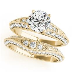 1.51 CTW Certified VS/SI Diamond Solitaire 2Pc Wedding Set Antique 14K Yellow Gold - REF-178H2M - 31