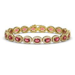13.87 CTW Tourmaline & Diamond Bracelet Yellow Gold 10K Yellow Gold - REF-271W6H - 40471