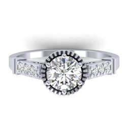 1.22 CTW Certified VS/SI Diamond Solitaire Art Deco Ring 14K White Gold - REF-347H8M - 30534