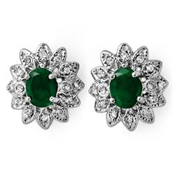 3.10 CTW Emerald & Diamond Earrings 14K White Gold - REF-80V5Y - 13789